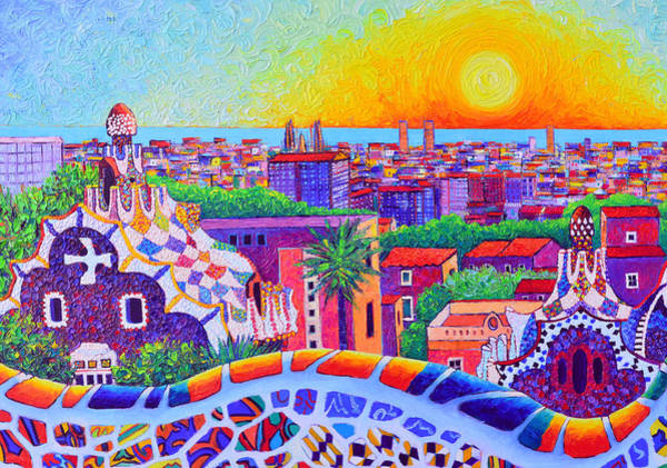 Painting - Park Guell Sunrise Barcelona Impasto Textural Impressionist Knife Oil Painting By Ana Maria Edulescu by Ana Maria Edulescu