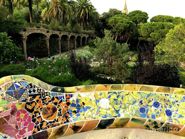 Wall Art - Photograph - Park Guell Undulating Bench 2 by Mona Edulesco
