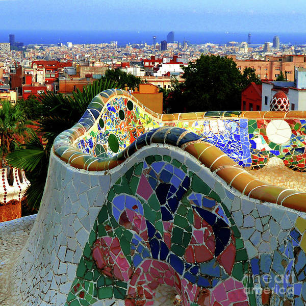 Mosaic Photograph - Park Guell Undulating Bench 3 by Mona Edulesco