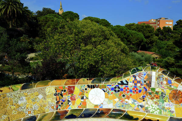 Mosaic Photograph - Park Guell Undulating Bench by Mona Edulesco