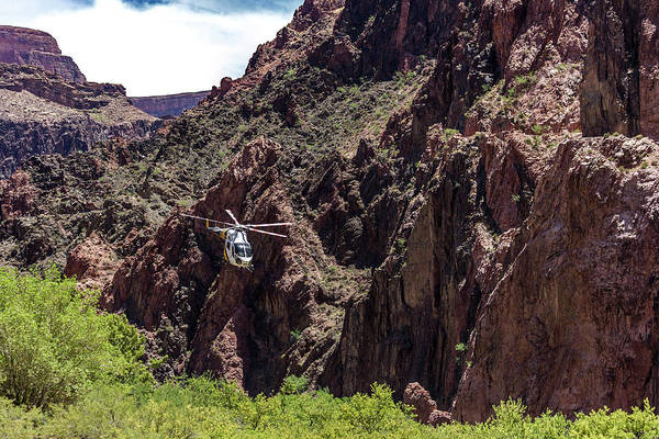 Photograph - Park Service Helicopter In The Grand Canyon  by Pete Hendley