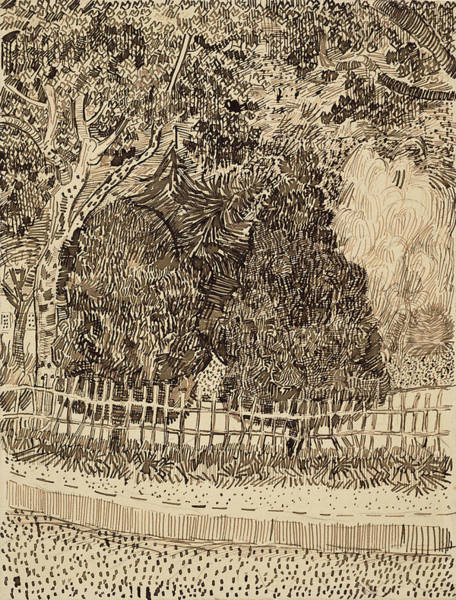 White Picket Fence Painting - Park With Fence, 1888 by Vincent Van Gogh