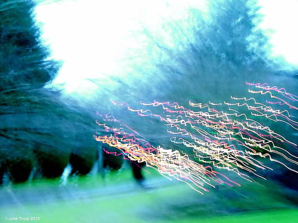 Real Ghosts Wall Art - Photograph - Park With Lights And Line Of Ghosts  by Jane Tripp
