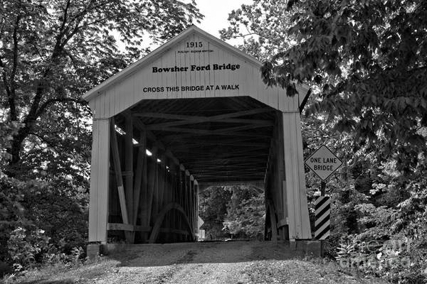 Photograph - Parke County Bowsher Ford Covered Bridge Black And White by Adam Jewell