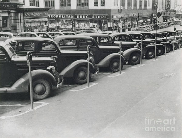 Photograph - Parked Cars And Meters 1938 by Photo Researchers