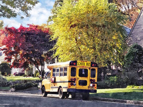 Photograph - Parked School Bus In Autumn by Susan Savad