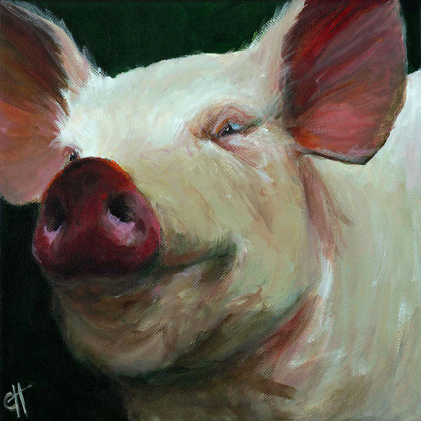 Barnyard Animal Painting - Parker The Pig by Cari Humphry