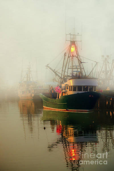 Evening Wall Art - Photograph - Fishing Boats On The Dock In A Foggy Day by Viktor Birkus