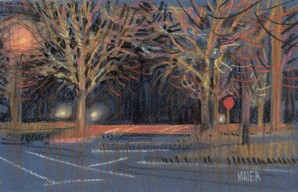 Stop Light Drawing - Parking Lot by Donald Maier