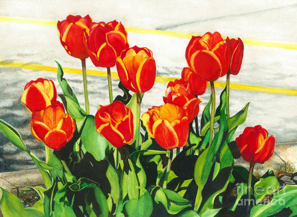Wall Art - Painting - Parking Lot Tulips by Barbara Jewell