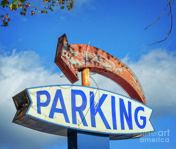 Wall Art - Photograph - Parking With Rusty Arrow by Lenore Locken