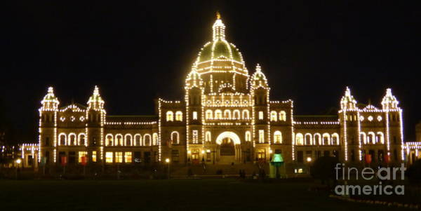 Photograph - Parliament Building At Night - Victoria British Columbia by Charles Robinson