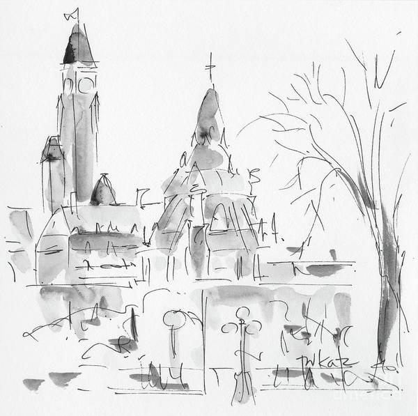 Painting - Parliament Hill In The Snow - Shades Of Gray by Pat Katz