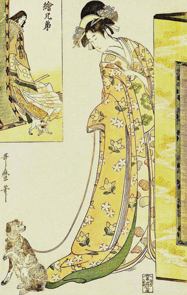 Kansai Painting - Parody Of The Third Princess  From The Series Picture Siblings by Kitagawa Utamaro