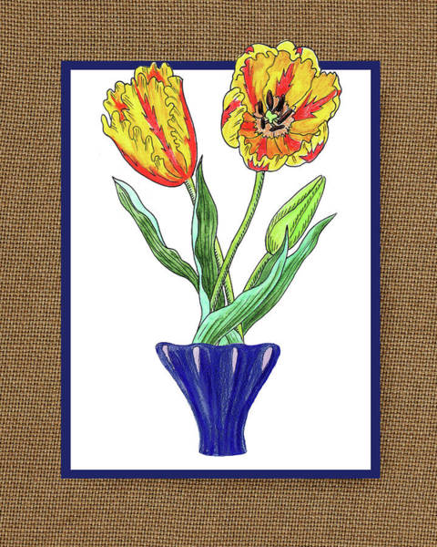 Painting - Parrot Tulips In The Blue Vase Watercolor On Canvas by Irina Sztukowski