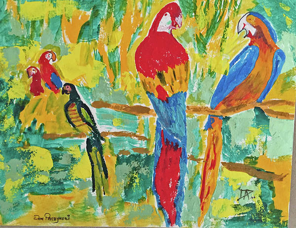 Painting - Parrots by Donald Paczynski