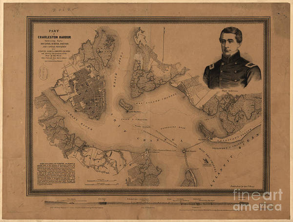 Photograph - Part Of Charleston Harbor Sc Vintage Map by Dale Powell