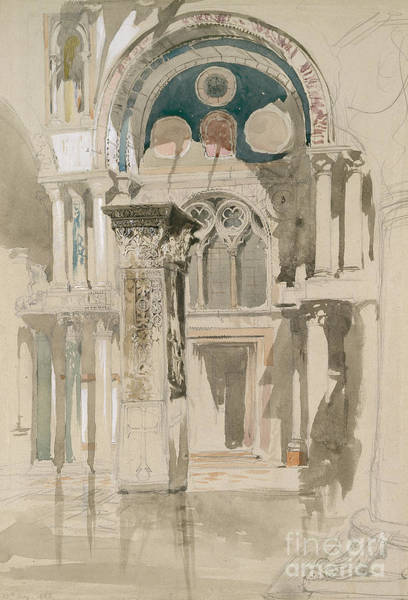 Archway Painting - Part Of Saint Mark's Basilica, Venice  Sketch After Rain by John Ruskin