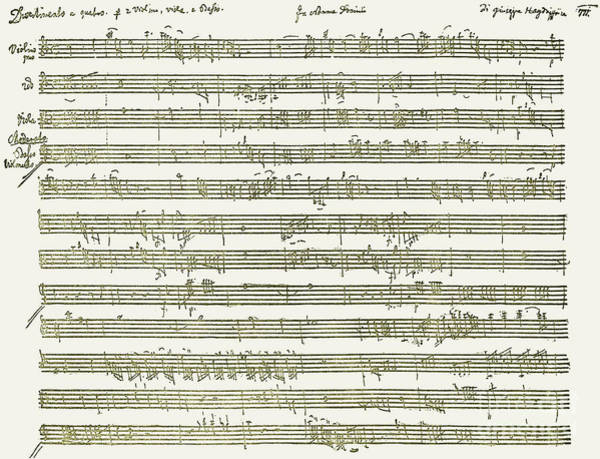 Austrian Drawing - Part Of The Score For Divertimenti For String Instruments By Haydn  by Franz Joseph Haydn