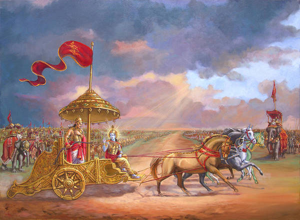 Battlefield Wall Art - Painting - Partha Sarathi  Krishna Speaks The Bhagavad-gita To Arjuna by Dominique Amendola