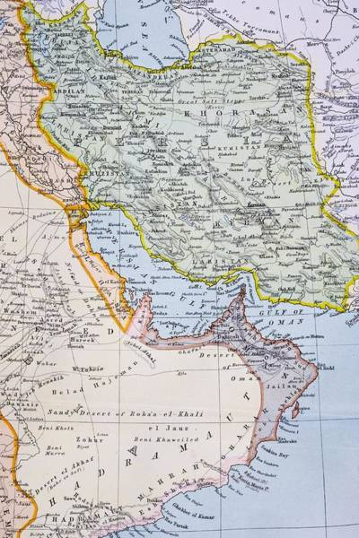 Persian Gulf Drawing - Partial Map Of Middle East Showing Red by Vintage Design Pics