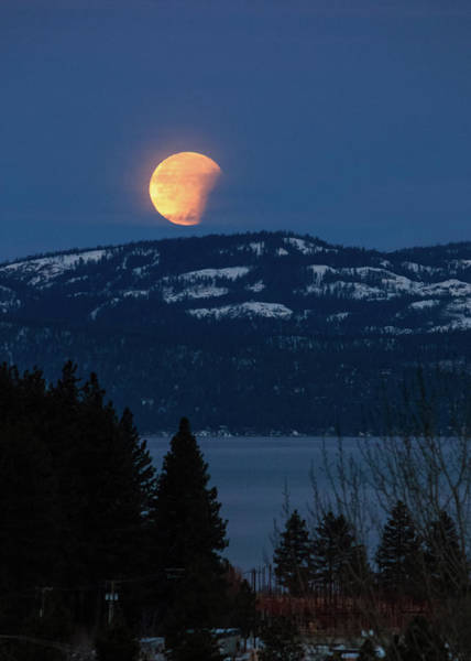Wall Art - Photograph - Partially Eclipsed Moonset Over Lake Tahoe by Mike Herron