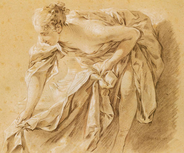 Nude Ladies Drawing - Partially Nude Woman Bathing by Francois Boucher