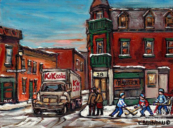 Painting - Partie De Hockey De Rue Scene De Ville De Montreal En Hiver Avec Camion De Kik Cola Ave Des Pins by Carole Spandau