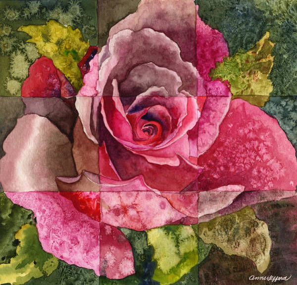 Wall Art - Painting - Partitioned Rose IIi by Anne Gifford