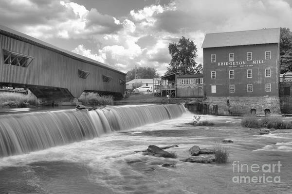 Photograph - Partly Cloudy Over The Bridgeton Spillway Black And White by Adam Jewell