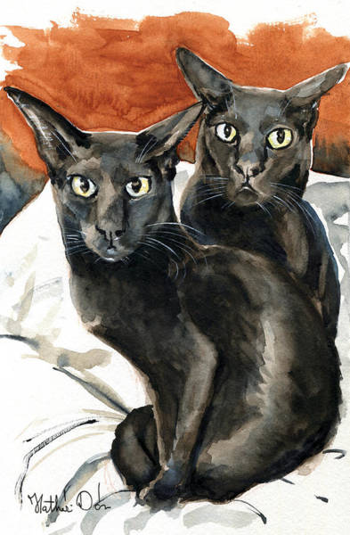 Painting - Partners In Crime - Black Oriental Cat Painting by Dora Hathazi Mendes