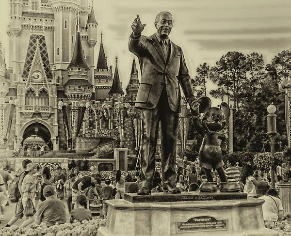Adventureland Photograph - Partners Statue Walt Disney And Mickey In Black And White by Thomas Woolworth