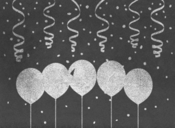 Balloon Festival Digital Art - Party Balloons On Chalkboard by Miroslav Nemecek