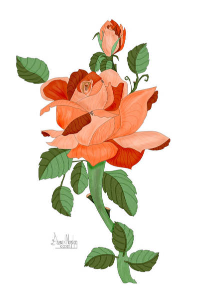 Wall Art - Painting - Party Colored Rose by Anne Norskog