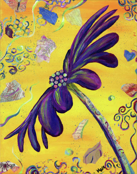 Complimentary Colors Mixed Media - Party Daisy by Mary Anne Hjelmfelt