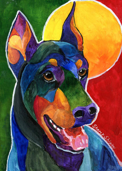 Painting - Party Doby,doberman Pinscher  by Sherry Shipley
