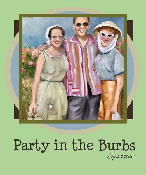 Novelties Painting - Party In The Burbs by Mary Sparrow