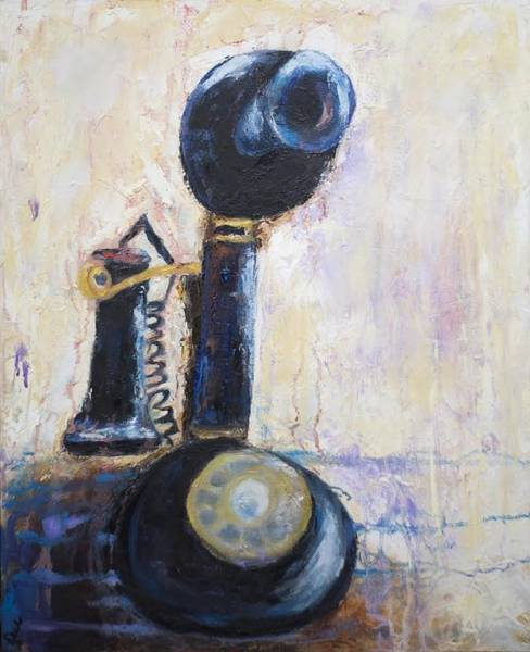 Dial Painting - Party Line I by Debbie Frame Weibler