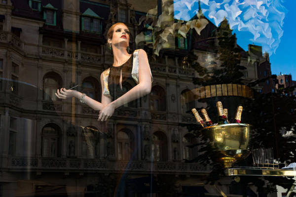 Photograph - Party Time - Glamorous Sophisticated Shop Window Reflections by Georgia Mizuleva