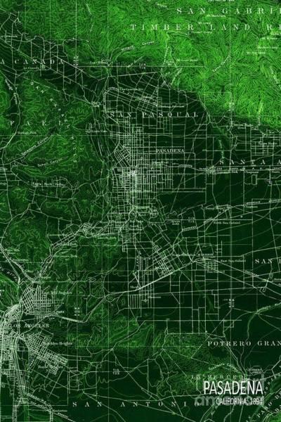Wall Art - Painting - Pasadena California Old Map Green by Drawspots Illustrations