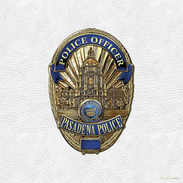 Digital Art - Pasadena Police Department - P P D  Officer Badge Over White Leather by Serge Averbukh