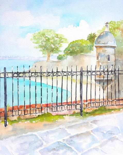 Castillo Wall Art - Painting - Paseo De La Princesa Puerto Rico by Carlin Blahnik CarlinArtWatercolor
