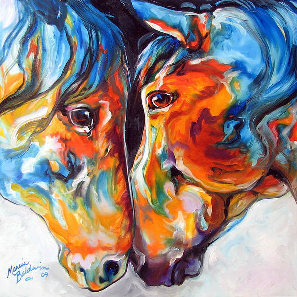 Painting - Paso Fino Friends Equine Abstract Art By M Baldwin by Marcia Baldwin