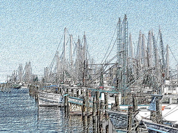Photograph - Pass Christian Harbor With Chalk Effect by Kathy K McClellan