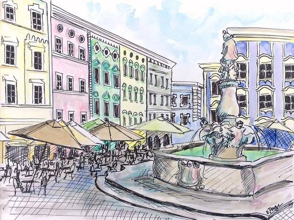 Painting - Passau Town Square by Emily Page