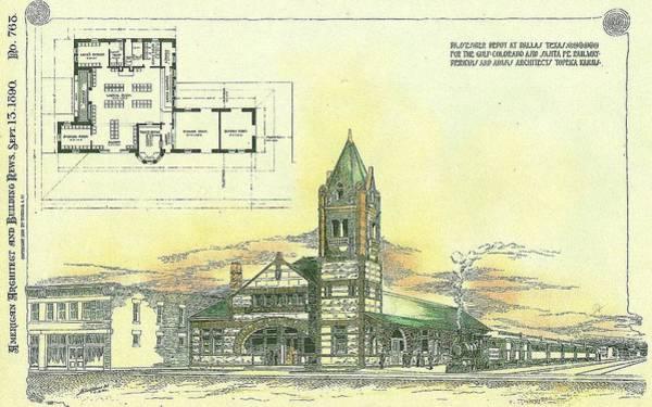 Railroad Station Painting - Passenger Depot At Dallas Texas 1890 by Perkins and Adams