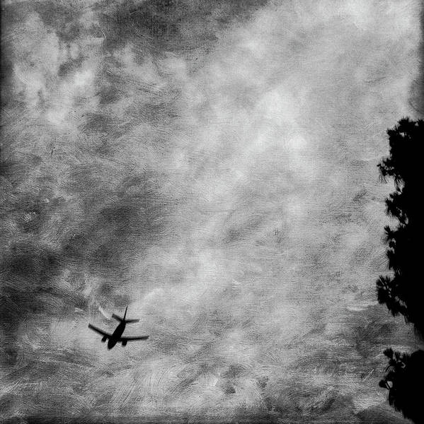 Wall Art - Photograph - Passenger Jet Airliner Cloudy Sky Over Burbank In Bw by YoPedro