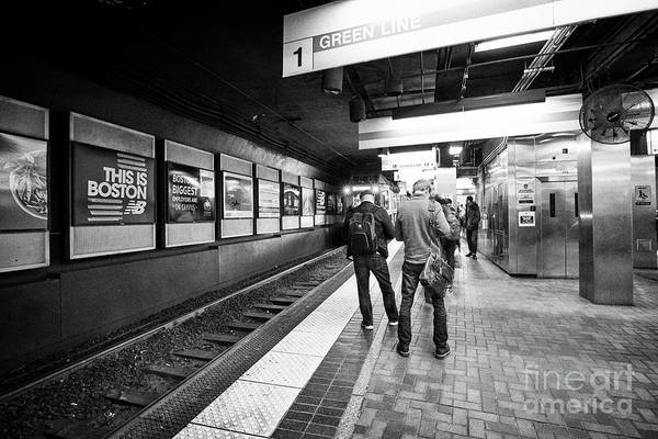 Wall Art - Photograph - passengers waiting for train Boston MBTA underground green line station park st USA by Joe Fox