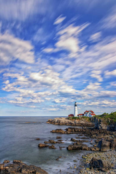 Passing Clouds At Portland Head Light Art Print