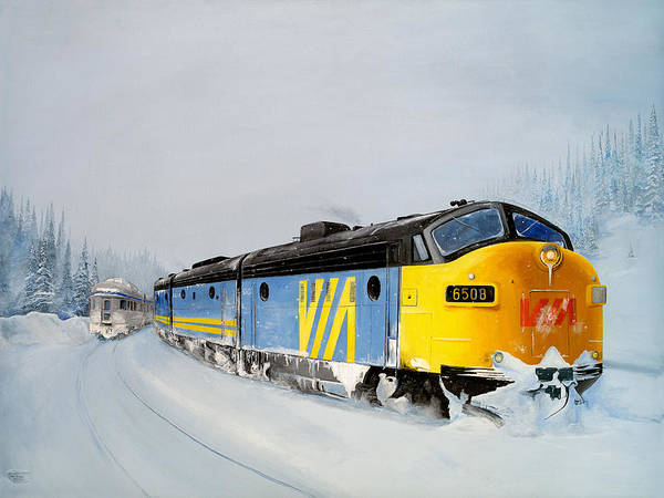 Diesel Trains Painting - Passing Trains by Glen Frear